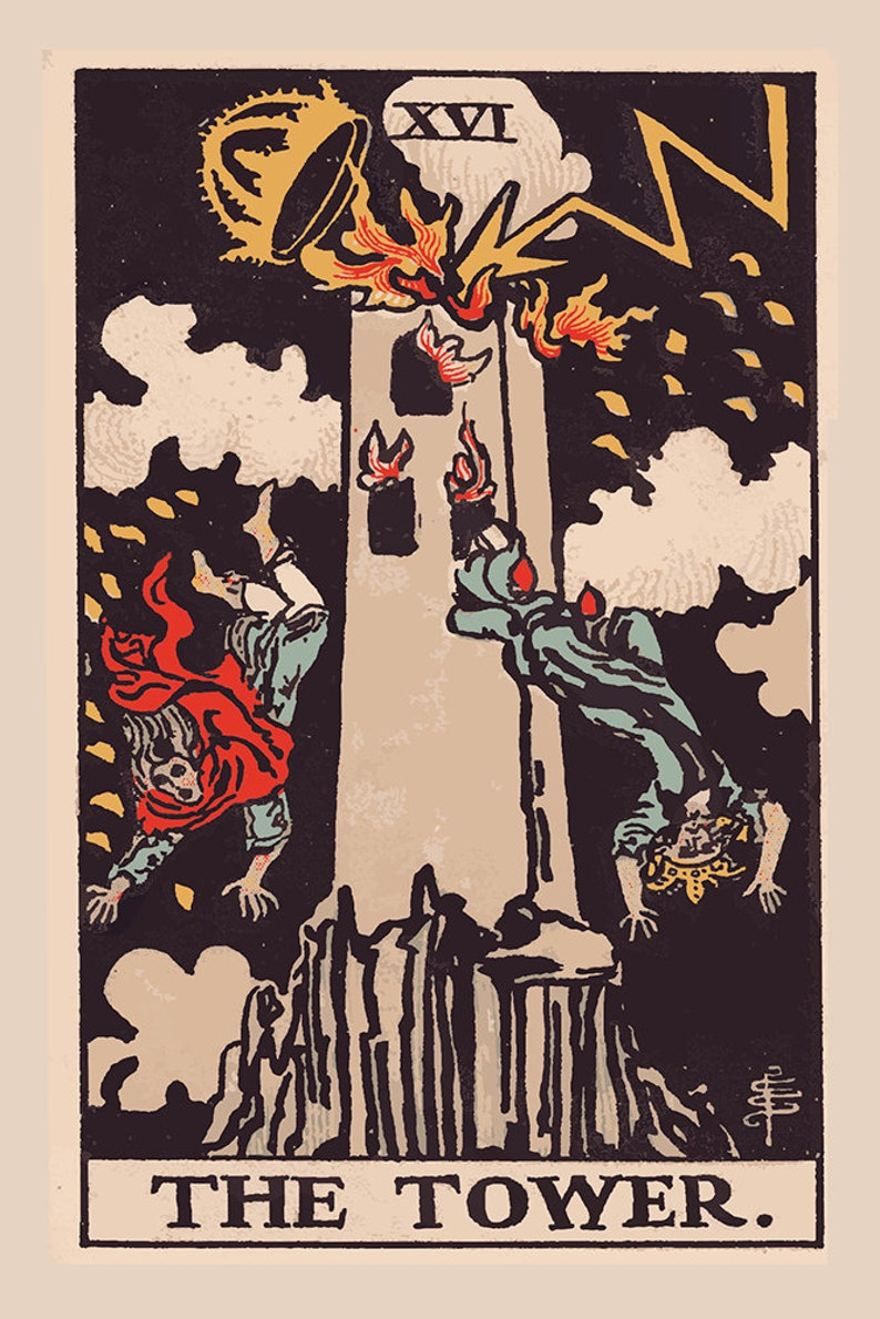 The Tower- Tarot Card Print - The Tower Card Poster, No Frame