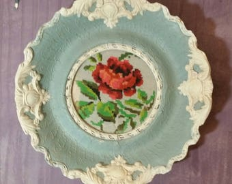 Vintage Cross Stitch Picture Painted in Blue and Cream, Lightly Distressed