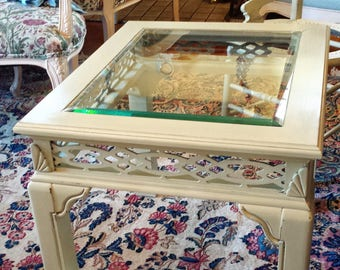 Vintage Glass Top Asian Style End table Updated with Versailles Chalkpaint - Glass Top