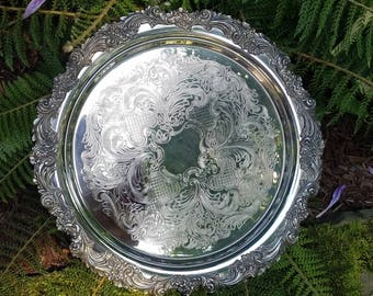 Vintage Silverplate Round Tray by Reed & Barton, Burgundy Collection, Very Heavy Silverplate Tray