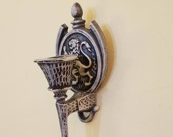 Small Vintage Metal Candlestick Wall Sconce Set by Sexton updated in Faux Flint Finish - marked 1975 - Hollywood Regency