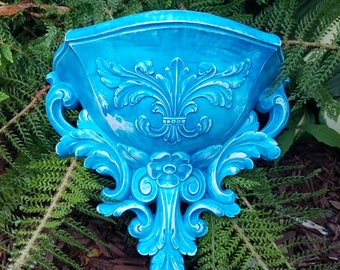 Vintage Resin Wall Vessel updated in Peacock Blue and White -  Hollywood Regency