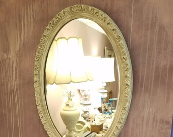 """Vintage Oval Mirror 26.5"""" Tall in Earthtone Hues - Poly Resin Mirror"""