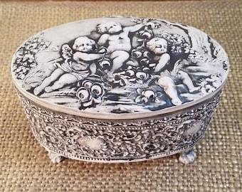 Metal Oval Jewelry Box with Cherubs and Velvet Liner, Vintage Painted Metal Box, Cherub Jewelry Box