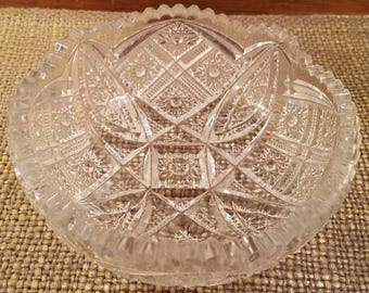 Imperial Glass Pressed Glass Bowl with Sawtooth Edge, Round Cut Glass Bowl, Chippy Bargain Bin