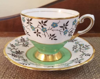 """Vintage Tuscan Fine English Bone China - 2 7/8"""" Tall -  Green with Blue Flowers and  Gold Trim Fine Bone China Tea cup and Saucer"""