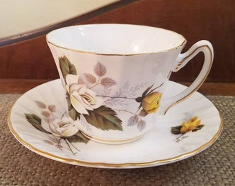 """Vintage Royal Sutherland Teacup 2 5/8"""" Tall - Yellow and  White Rose Tea Cup - Vintage Fine Bone China Tea cup, Scallop Edge Optic Swirl"""