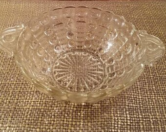 "Vintage Pressed Glass Bowl  7 1/2 "" -Depression Glass - Dot Pattern with Tab Handles - Round Cut Glass Bowl"