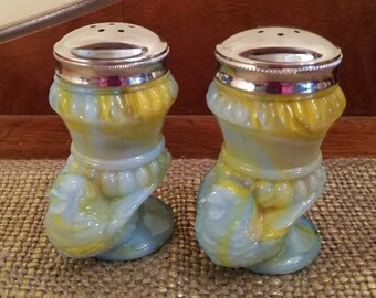 "Boyd Slag Glass Salt and Pepper Shaker Set with Sparrow 3 1/4"" Tall, Unique Blue and Yellow Slag"