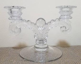 Vintage Cambridge Glass Martha 495 Two Arm Candlestick - 2 Light Candelabra - 1940's Glass Candlestick - Feather Scroll, Wedding Decor