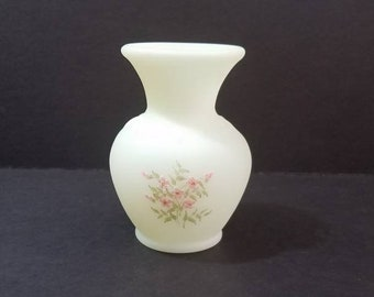 "Vintage FENTON Satin Custard Glass Vase 4.5"" Tall, Hand painted with Pink Blossoms, Signed by Artist, Pattern #9056PY"