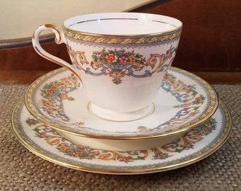Vintage Aynsley Teacup Trio Set in Henley Pattern, Vintage Tea cup, Fine Bone China Teacup & Saucer and snack plate- Henley Floral gold Trim