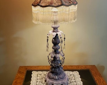 Vintage Updated Hollywood Regency Chandelier Style Lamp in Lilac, Semiprecious Beading and Freshwater Pearls, One of a Kind