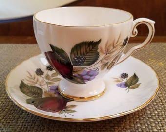 """Vintage Royal Grafton Teacup 3 1/4"""" Tall -  Apple, Blackberry, Blueberry Tea Cup - Vintage Tea cup, Royal Grafton Fine Bone China Tea cup"""