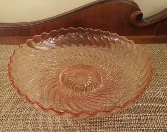 "Imperial Glass Light Amber Glass Twisted Optic Shallow Bowl 7 1/4"" Diameter Yellow Swirl Bowl"