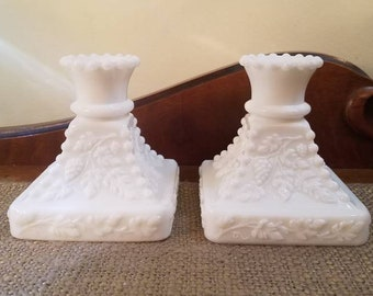 "Westmoreland Paneled Grape Candlestick Holder Set - 4"" Tall Vintage Milk Glass Candle Stick Set-"