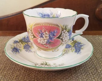 Crown Teacup Anniversary Greetings, July Blue Flower Tea Cup, Vintage Tea cup, Staffordshire China Teacup - Jewel Box