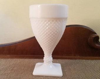 """Smith Glass Milk Glass Diamond Point Water Goblet - 5 3/4"""" T, Vintage Diamond Cut Milk Glass Water Glass"""