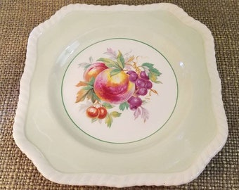 """Johnson Bros Olde English Decorative Plate - 8.5"""" - California Peaches and Grapes - Fruit plate - Square plate - Chips on underside"""