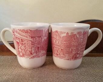 "Vintage RT4 Royal Art? 3"" Tall, 2 piece Mug Set in Red and White, English Street Scene  Tapered Mug w Handle - English China Mug Set of 2"
