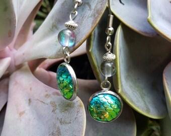 Handmade Gemstone Mermaid Dangle Earrings, Semi-precious Stainless Steel, Bead Drop Ears, Rainbow Quartz, Green Mermaid Scale Bezel