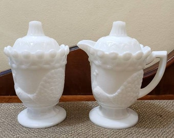 "Westmoreland Peacock Cream Pitcher and Sugar Bowl, 6"" Tall Milk Glass Sugar Creamer with Lids - Excellent condition!"
