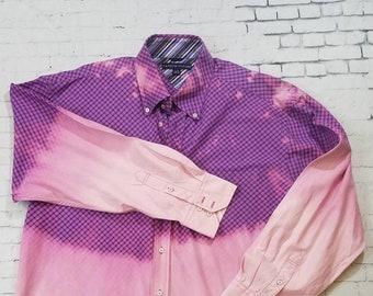 Bleached Plaid Shirt Mens XL, Hand Bleached Mens Cotton Shirt, Cool Ombre Fade, Cotton Dress Shirt, Boho Grunge