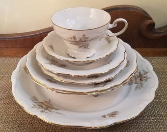 Vintage Johann Haviland Full Place Setting - Sepia Rose - Vintage 7 piece Place Setting - Made in Germany - Sepia Rose Pattern