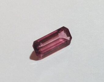 Emerald Cut Pink Tourmaline Loose Gemstone, 11x5mm 1.75ct, Cut Corner Step Cut Tourmaline, Dark Pink Tourmaline