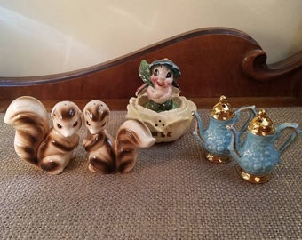 Vintage Salt & Pepper Shaker Sets - Lot of 3, Squirrels, Bug + Flower, Blue + Gold Pitchers - Made in Japan- Vintage Ceramic Shakers