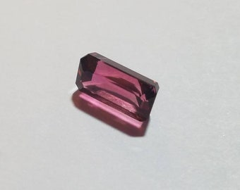 Emerald Cut Pink Tourmaline Loose Gemstone, 10x6mm 3.3ct, Step Cut Dark Pink Tourmaline