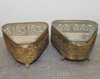 Glass and Metal Triangle Shaped Jewelry Box , your choice Ormolu and Glass Jewel Casket, Glass Metal Trinket Box