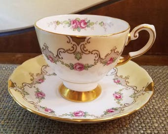 """Vintage Tuscan Fine English Bone China - 3 1/4"""" Tall -  Pink Rose with Yellow and Gold Trim Fine Bone China Tea cup"""