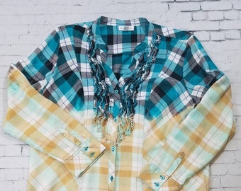 Bleached Flannel Plaid Shirt Ladies XL, Hand Bleached Ruffled Flannel Shirt, Cool Ombre Fade, Updated Light Flannel Shirt, Boho Grunge