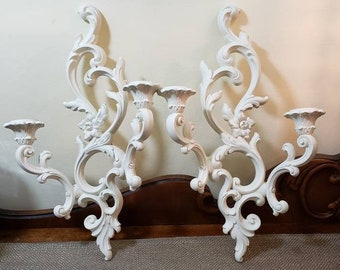 Vintage Double Candlestick Wall Sconce Set updated in Cream, Made by Syroco in Hollywood Regency Style, Painted Wall Decor