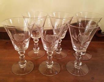"""Rose by Fostoria Crystal Stemware - 6.75"""" - Set of 6 - Etched Crystal Water Goblet Glasses, Vintage Glass, Vintage Crystal Wedding Decor"""