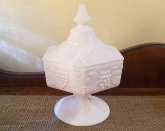 Vintage Milk Glass -Imperial Glass tall compote w lid - Paneled Grape - Pedestal Compote - Lidded Dish - Grave Harvest - Candy Jar