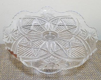 Vintage Pressed Glass Pedestal Cake Tray (small), Mini Cake Stand with Stars and Arches