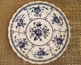 Johnson Bros Tea Cup Saucers Set of 2, Indies Blue and White Saucers, Blue Ironstone