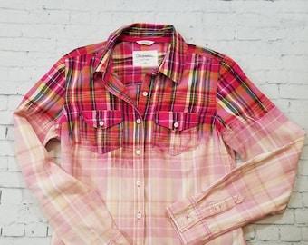 Bleached Plaid Shirt Teen Medium, Hand Bleached Light Cotton Shirt, Cool Ombre Fade, Updated Lightweight Shirt, Boho Grunge