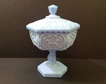 Imperial Glass Blue Satin (Turquoise) Antique Scroll Compote With lid, Rare especially with a lid! (Atterbury Scroll)