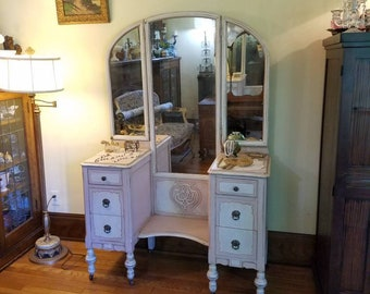 Vintage Vanity Table with Tri-Fold Mirror in Blush Pink and White - Shabby Chic- Vintage Glam - Farmhouse- Cottage Decor Girly