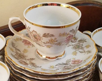 """Vintage Rare Belcrest Autumn Teacup and Saucer set of 8 sets! - 3 5/8"""" - Heirloom Collection - Autumn Scalloped- 16pc Set- West Germany"""