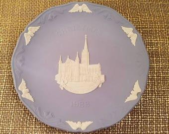"Wedgwood Blue Decorative Plate - Jasper ware, Christmas 1988, 7 1/4"" Salisbury Cathedral"