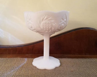 """Vintage LE Smith Milk Glass Compote -  5 3/4"""" Tall - Milk Glass - Pinwheel Star Cane Pedestal Compote - 1950's Milkglass - Candy Dish"""