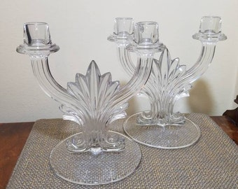 "Vintage Fostoria Glass Candelabra Set #2484, 10"" L, 2 Light Candelabra, Double Candlestick Candelabra 2 Arm Candelabra Set, Wedding Decor"