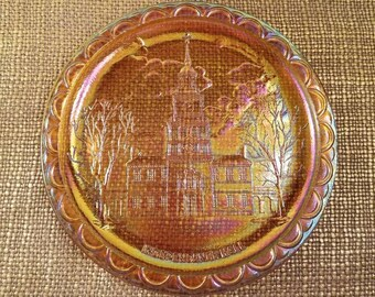 Sale!!! Marigold Carnival Glass Plate Indiana Glass Co Decorative Plate, Independence Hall 1976 Bicentennial