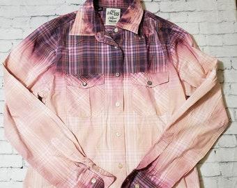 Kids Bleached Cotton Long Sleeve Purple Shirt Girls Medium, Plaid Bleached Shirt Cool Ombre Fade Boho Grunge