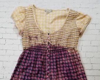 Bleached Plaid Shirt, Ladies Medium, Hand Bleached Light Cotton Blouse, Cool Ombre Fade, Updated Lightweight Shirt, Boho, Grunge