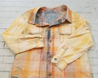 Kids Bleached Long Sleeve Cotton Shirt 3T,  Bleached Plaid Purple And Orange Plaid Cool Ombre Fade Grunge Boho